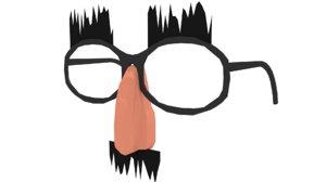 character goofy glasses nose 3D
