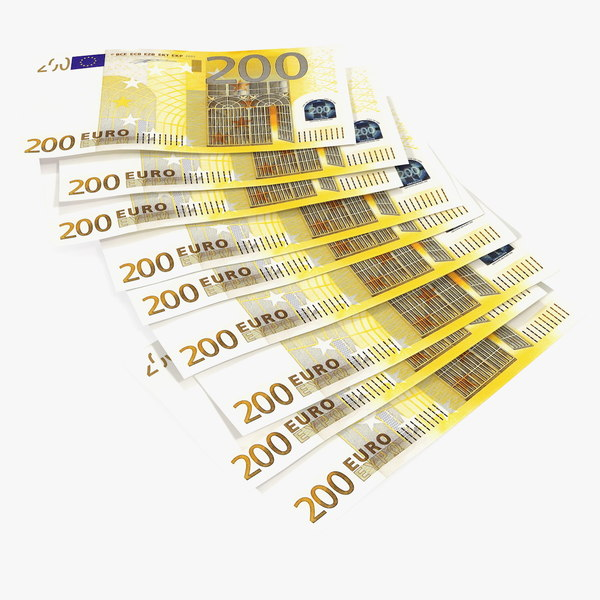 paper banknotes euro 200 3D model