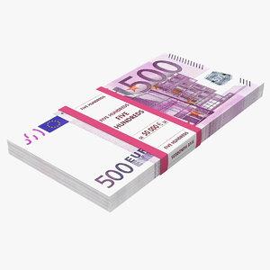 500 euro banknotes 3D model