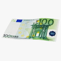 100 euro banknote bank 3D
