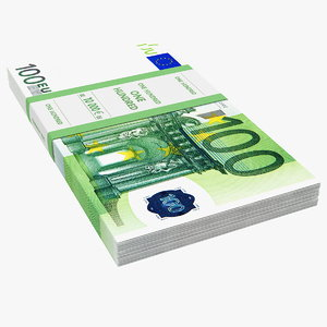 3D 100 euro banknotes