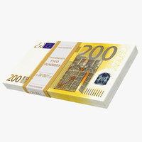 200 euro banknotes 3D model