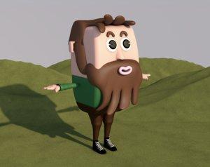 cartoon man male animation character 3D model