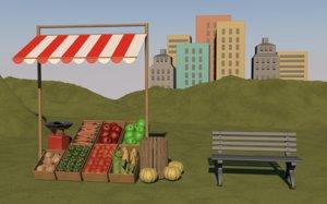 food vegetable stand farm 3D model