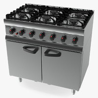 3D lincat burner gas oven model