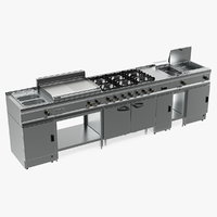 professional inox kitchen equipment 3D