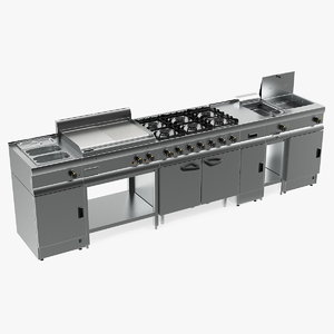 professional inox kitchen equipment 3D