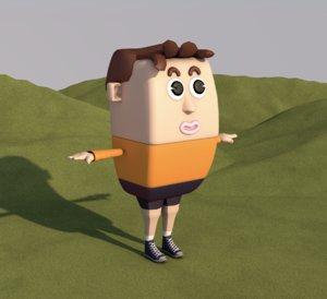 3D model cartoon man male animation character