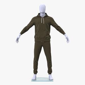 sportswear suit lowered hood 3D model
