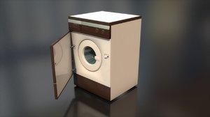 3D vintage clothes washing machine