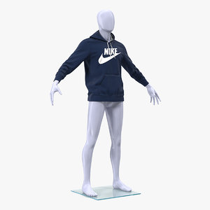 3D model blue nike hoodie lowered