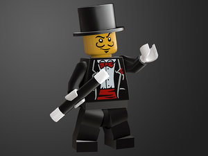 3D rigged ready magician lego character model