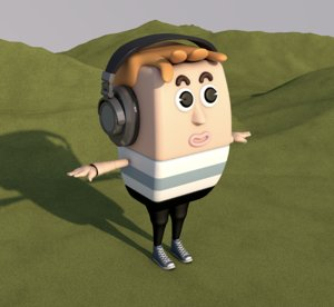 3D model man cartoon