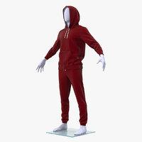 3D sportswear suit raised hood