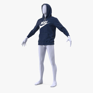 3D blue nike hoodie raised model
