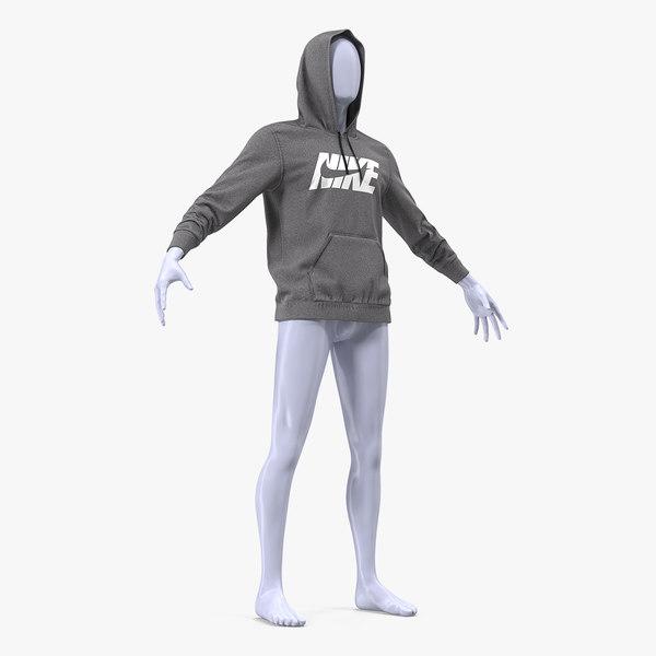 grey nike hoodie raised 3D