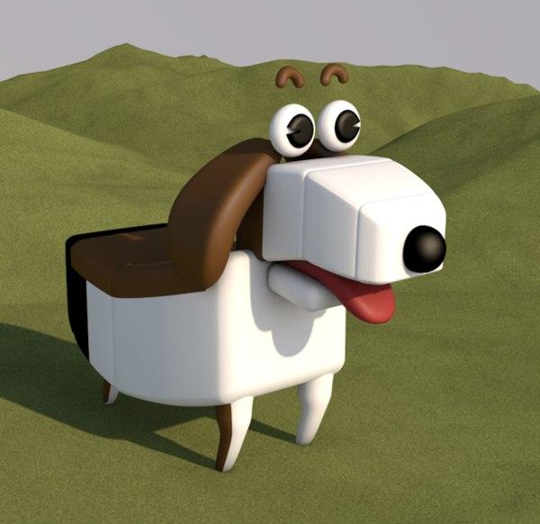 dog cartoon animal mammal 3D model