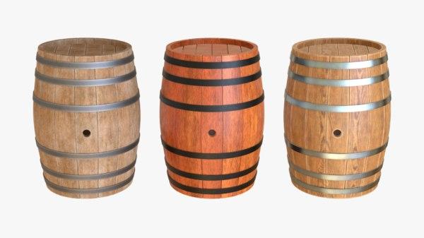 wooden barrel wood 3D