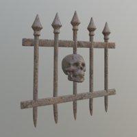Halloween Skull Fence - Game Ready