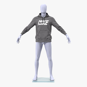grey nike hoodie lowered 3D model