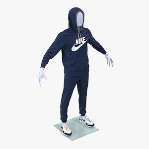 3D nike blue sportswear suit