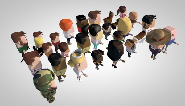 crowd people person biped 3D model