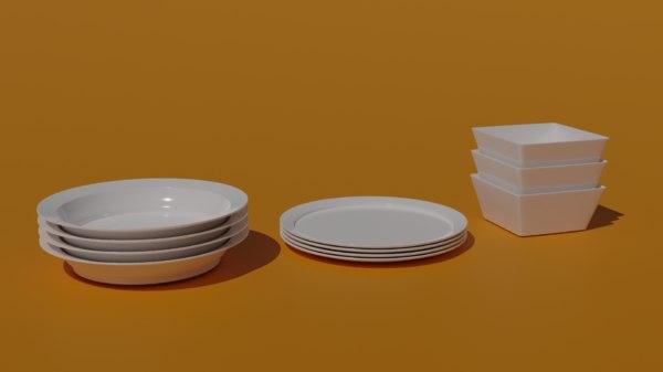 set tableware plate bowl model