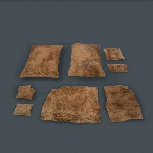 burlap sacks pieces 3D