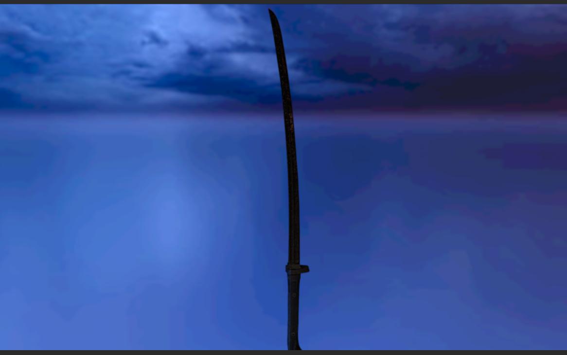 3D model sword katana weapon
