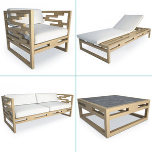 3D kontiki wooden outdoor furniture model