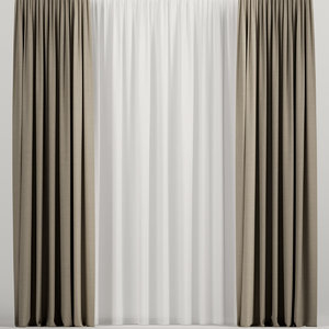 3D curtains brown model