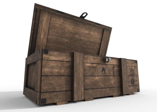 3D wood crate - pbr model