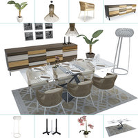 set dining table chair 3D model