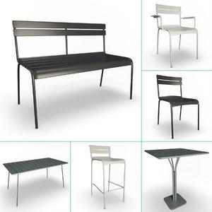 3D model luxembourg metallic outdoor furniture
