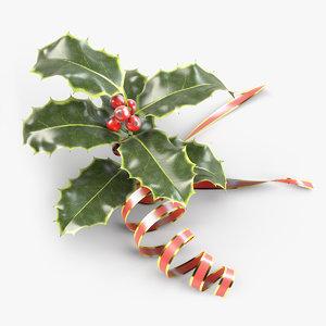 3dsmax christmas holly