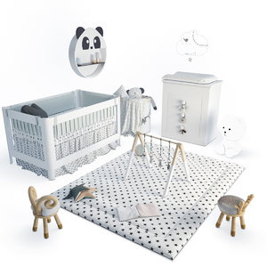 3D set baby bedroom bed