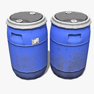 3D plastic barrel contain model