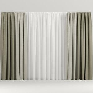 curtains beige 3D model