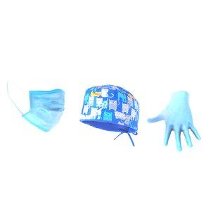 medical hat mask gloves model