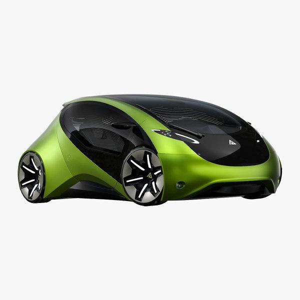 futuristic compact car 3D