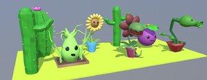 3D flowers set model