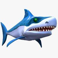 3D original cartoon shark