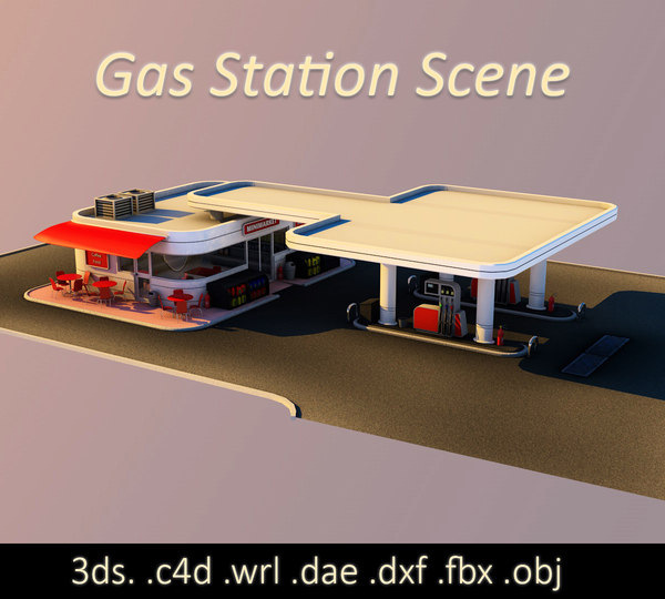 3D gas station scene