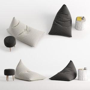 knitted bean bag 3D model