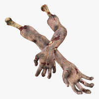 3D model scary zombie hands