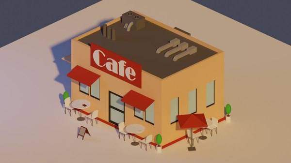 3D coffee house plates model