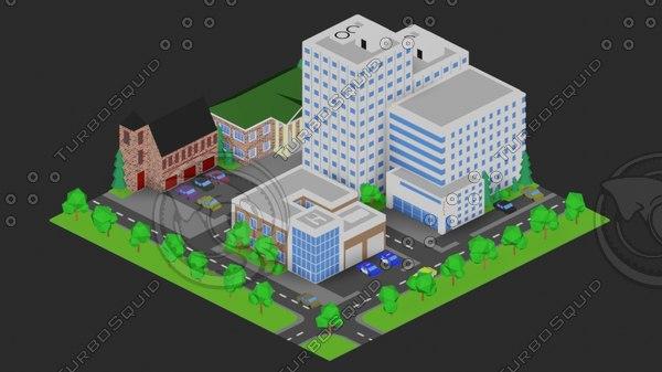 3D isometric city blender