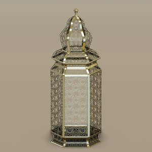 3d model of moroccan brass floor lamps