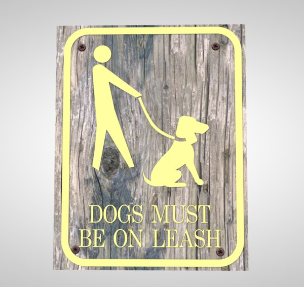 sign dog leash 3D