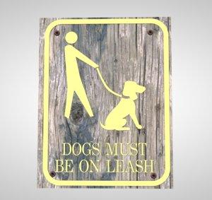 sign dog leash 3D